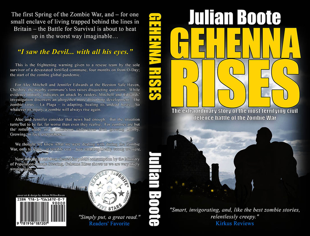 WillowRaven's book cover art and design wrap for Julian Boote's book, GEHENNA RISES