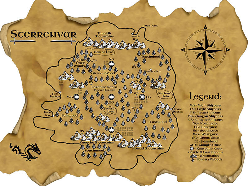 WillowRaven's map of Sterrenvar for Sherry Leclerc's, The Guardians of Eastgate, book one of the Seers Series
