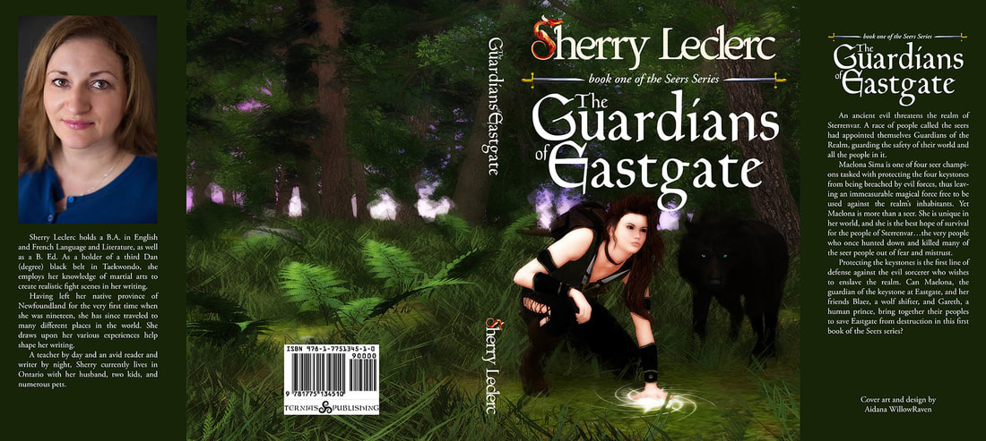 WillowRaven's book dust jacket art and design for Sherry Leclerc's The Guardians of Eastgate, book one of the Seers Series
