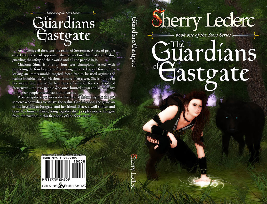 WillowRaven's book cover art and design wrap for Sherry Leclerc's The Guardians of Eastgate, book one of the Seers Series